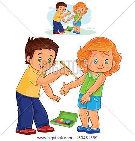 Vector illustration of a little boy paints a paint on a little girl skin rash. Print