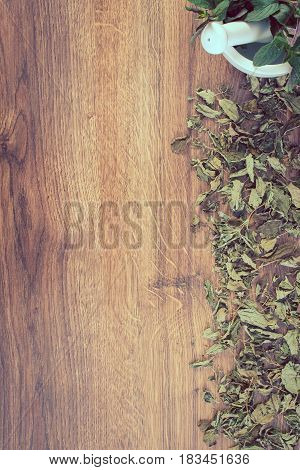 Vintage Photo, Dried And Fresh Green Mint With Mortar, Healthy Lifestyle, Copy Space For Text