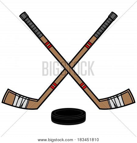A vector illustration of a couple hockey sticks and a puck.