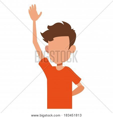 young boy teen male faceless image vector illustration