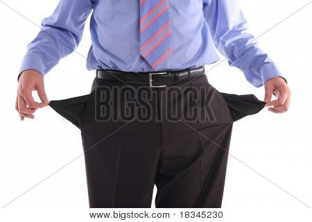 The gone bankrupt businessman stands with the turned out pockets poster