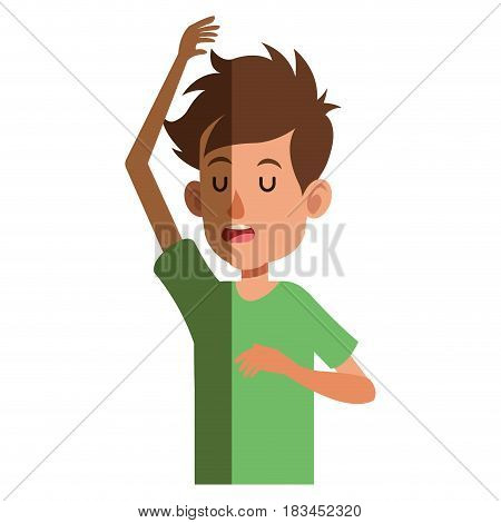 young boy teen male up arm close eyes vector illustration