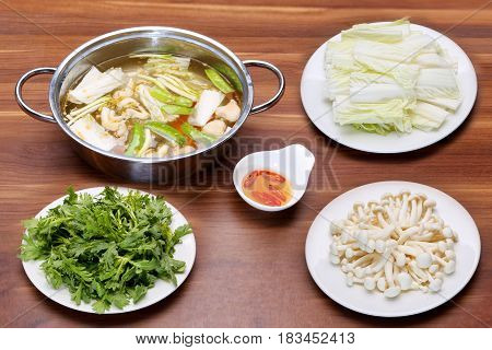 Prepared Hot Pot Of Seafood In Vietnamese Style With Mushroom, Fish Sauce