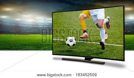 4k monitor watching smart tv translation of football game.