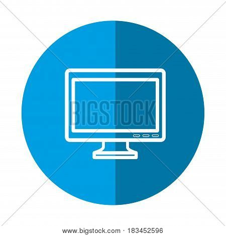 monitor computer icon over blue circle and white background. vector illustration