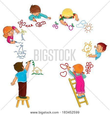 Vector illustration of little boys and girls draw with colored pencils. Print