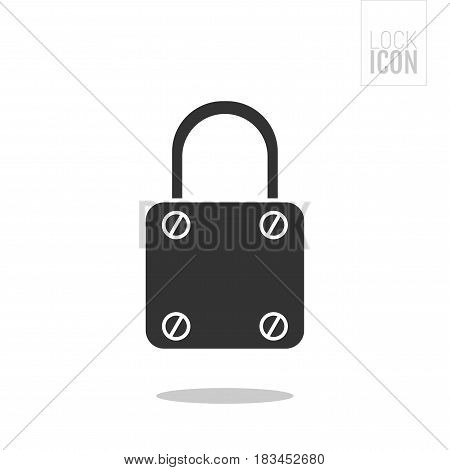 Padlock. Flat black icon of lock isolated on white background. Object of safety, protection. Vector illustration