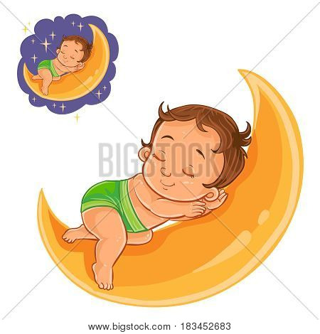 Vector illustration of a small baby in a diaper asleep using a moon instead of a pillow. Print