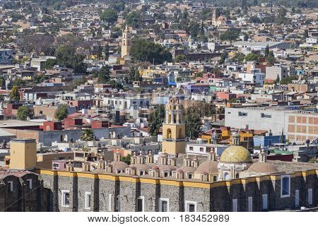 Aerial View Cityscape Of Cholula With Capilla Real O De Naturales