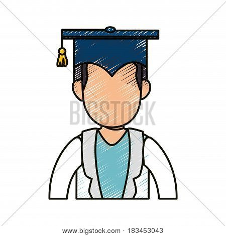 student with gratuation cap icon over white background. colorful design. vector illustration