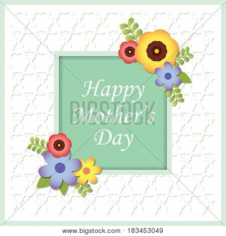 Happy Mother's Day greeting card with beautiful flower decoration on white embossed paper background / Mother's day vector illustration.