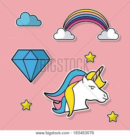 fantasy unicorn rainbow diamond cloud star vector illustration