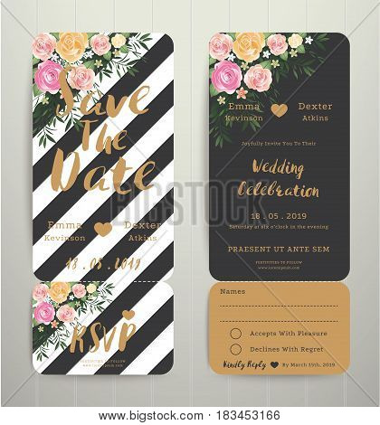 modern wedding invitation black and white stripes background save the date card with rsvp set modern style