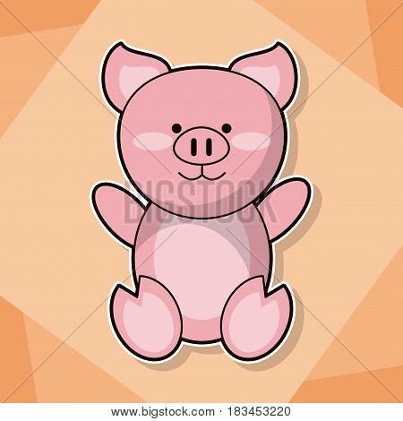 cute piggy baby animal cartoon image vector illustration