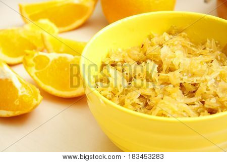 Orange Juice Braised Cabbage In Yellow Bowl
