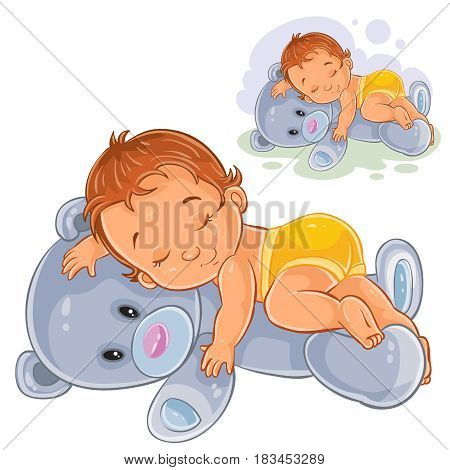 Vector illustration of a little baby in a nappy asleep, dozing on a teddy bear. Print