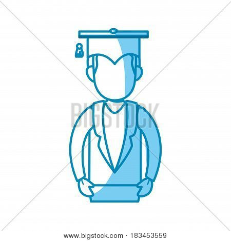 student with gratuation cap icon over white background. vector illustration