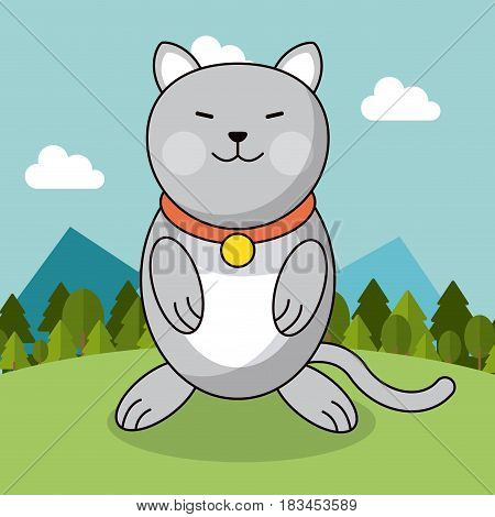 cute cat with collar adorable landscape natural vector illustration