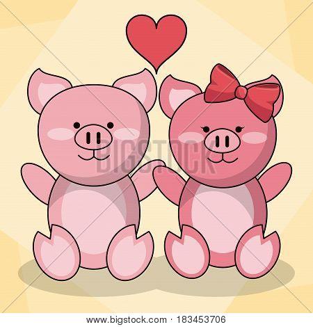 loving couple pigs animal baby heart decoration vector illustration