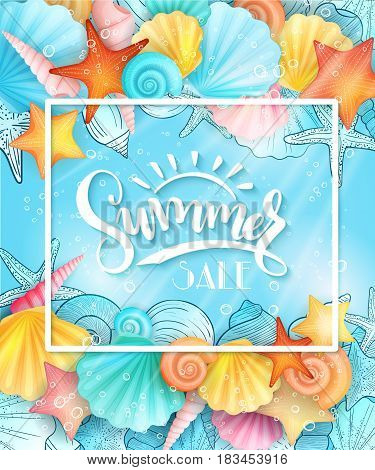 vector illustration of hand lettering text - summer sale - with frame and seashells on sea water background.
