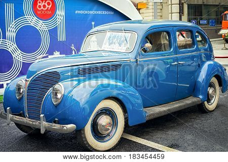 Moscow, Russia - September 11, 2016: Retro Ford V8 Deluxe Car On The Street. 1938 Year Modification