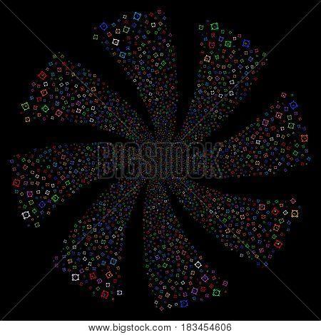 Alarm Clock fireworks swirl rotation. Vector illustration style is flat bright multicolored iconic symbols on a black background. Object twirl organized from random symbols.