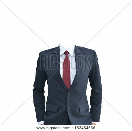 Business Man With No Head Standing Isolated On White Background, Clipping Path Inside