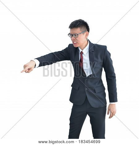 Angry Asian Business Man Blaming Isolated On White Background, Clipping Path Inside