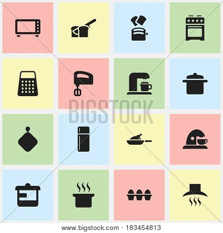 Set Of 16 Editable Cook Icons. Includes Symbols Such As Slice Bread, Agitator, Stove And More. Can Be Used For Web, Mobile, UI And Infographic Design.
