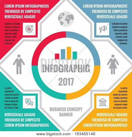 Business infographic concept illustration with icons and information text blocks for presentation, booklet, website and other design projects. Demographic creative banner. Colored layout.