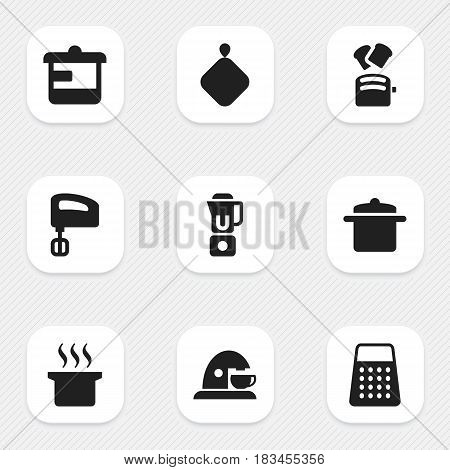 Set Of 9 Editable Cook Icons. Includes Symbols Such As Cookware, Agitator, Utensil And More. Can Be Used For Web, Mobile, UI And Infographic Design.