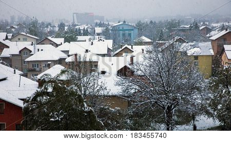 Snow in a town. Bosnia and Herzegovina