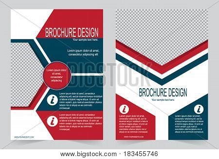Red and Blue Brochure template flyer design abstract template for annual report magazine poster