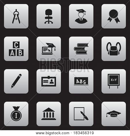 Set Of 16 Editable University Icons. Includes Symbols Such As Notepaper, Diplomaed Male, First Place And More. Can Be Used For Web, Mobile, UI And Infographic Design.