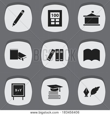 Set Of 9 Editable University Icons. Includes Symbols Such As Pencil, Bookshelf, Blackboard And More. Can Be Used For Web, Mobile, UI And Infographic Design.