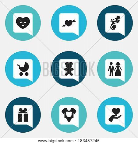 Set Of 9 Editable Kin Icons. Includes Symbols Such As Bodysuit, Child, Love And More. Can Be Used For Web, Mobile, UI And Infographic Design.
