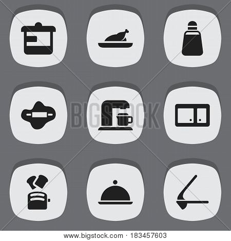 Set Of 9 Editable Food Icons. Includes Symbols Such As Salver, Drink Maker, Fried Chicken And More. Can Be Used For Web, Mobile, UI And Infographic Design.