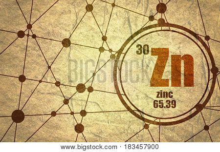 Zinc chemical element. Sign with atomic number and atomic weight. Chemical element of periodic table. Molecule And Communication Background. Connected lines with dots. Grunge texture