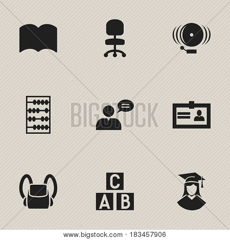 Set Of 9 Editable University Icons. Includes Symbols Such As Schoolbag, Ring, Graduated Female And More. Can Be Used For Web, Mobile, UI And Infographic Design.