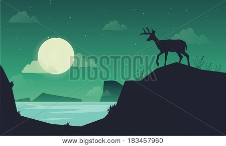 Landscape deer on the hill of silhouettes vector art