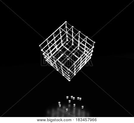 Wireframe model of the cube. Lines and spheres. Medical, technology, chemistry, science relative. Shallow depth of field. 3D rendering.