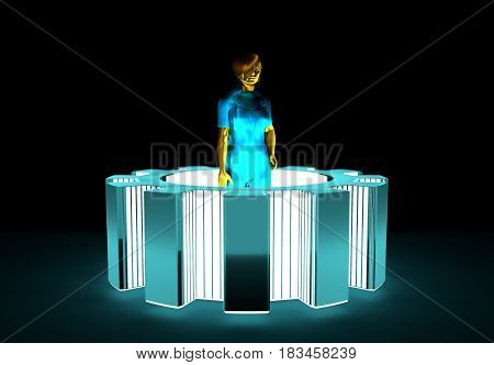 Young woman wearing apron and standing in the center of gear. 3D rendering. Metallic material. Neon shine illumination.