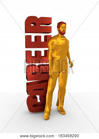 Young man wearing apron. Bearded worker at career word. 3D rendering. Metallic material.