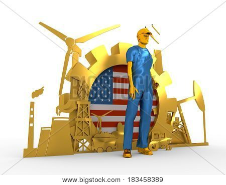 Young man wearing apron. Bearded worker at industrial isometric golden icons set with USA flag. 3D rendering. Metallic material. Energy generation and heavy industry.