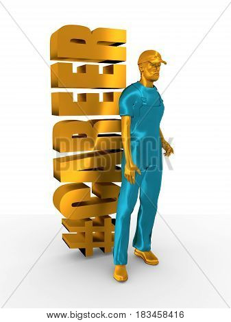 Young man wearing apron. Bearded worker at career word. 3D rendering. Metallic material. Hashtag symbol