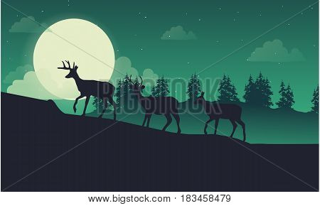 Lined deer on the hill landscape of silhouette vector art