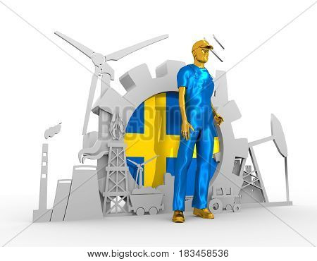 Young man wearing apron. Bearded worker at industrial isometric icons set with Sweden flag. 3D rendering. Metallic material. Energy generation and heavy industry.