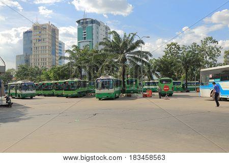 HO CHI MINH CITY VIETNAM - NOVEMBER 29, 2016: Public bus terminal in downtown Ho Chin minh City.