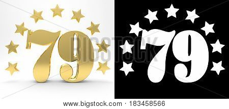 Golden number seventy nine on white background with drop shadow and alpha channel decorated with a circle of stars. 3D illustration