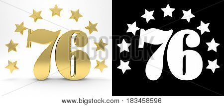 Golden number seventy six on white background with drop shadow and alpha channel decorated with a circle of stars. 3D illustration